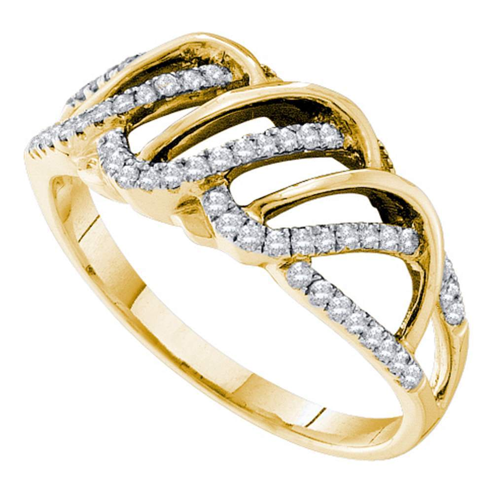 14kt Yellow Gold Womens Round Diamond Openwork Stripe Band Ring 1/4 Cttw