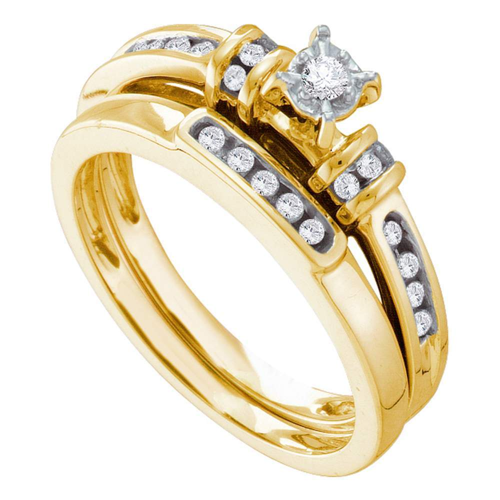 14kt Yellow Gold Womens Round Diamond Bridal Wedding Engagement Ring Band Set 1/5 Cttw