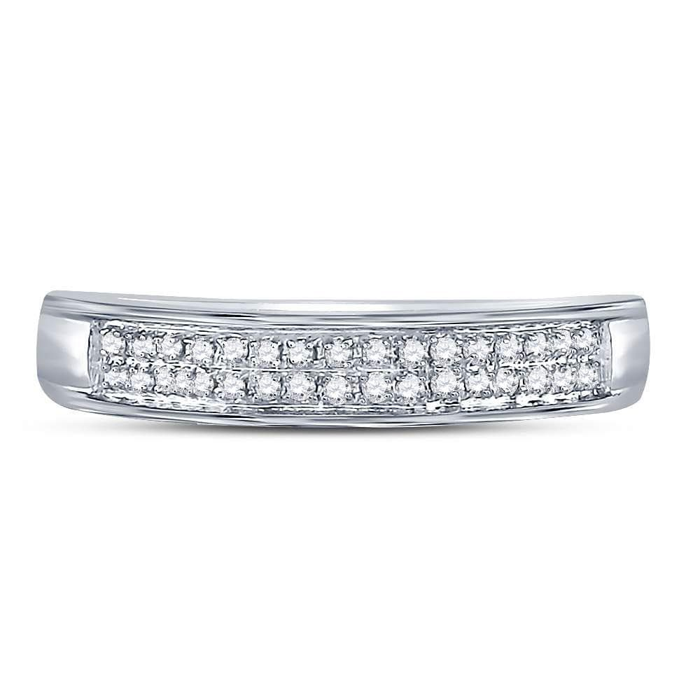10kt White Gold Womens Round Diamond Double Row Band Ring 1/10 Cttw