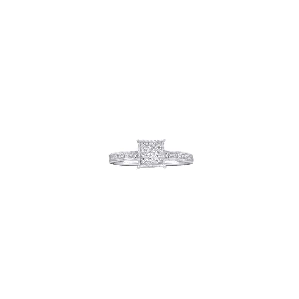 10kt White Gold Womens Round Diamond Square Cluster Ring 1/10 Cttw