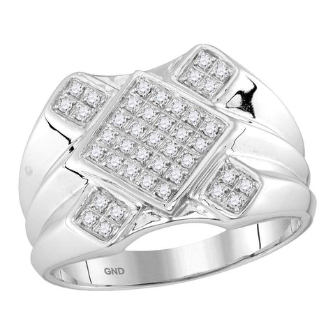 10kt White Gold Mens Round Diamond Diagonal Square Cluster Ring 1/3 Cttw