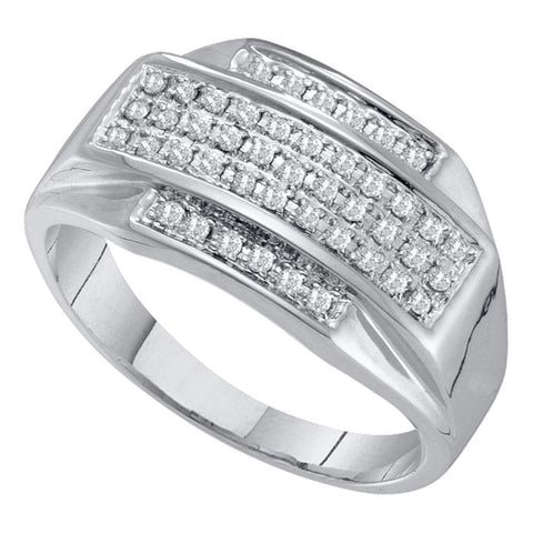 10kt White Gold Mens Round Pave-set Diamond Rectangle Cluster Ring 1/3 Cttw