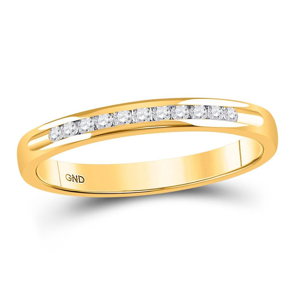 14kt Yellow Gold Womens Round Channel-set Diamond Single Row Wedding Band 1/10 Cttw