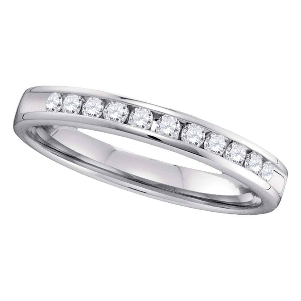 14kt White Gold Womens Round Diamond Slender 2.5mm Wedding Band 1/4 Cttw