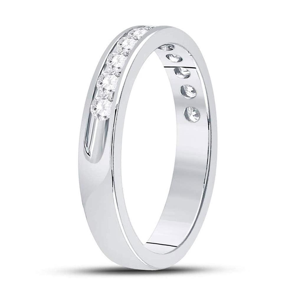 14kt White Gold Womens Machine Set Round Diamond Wedding Channel Band 1/2 Cttw