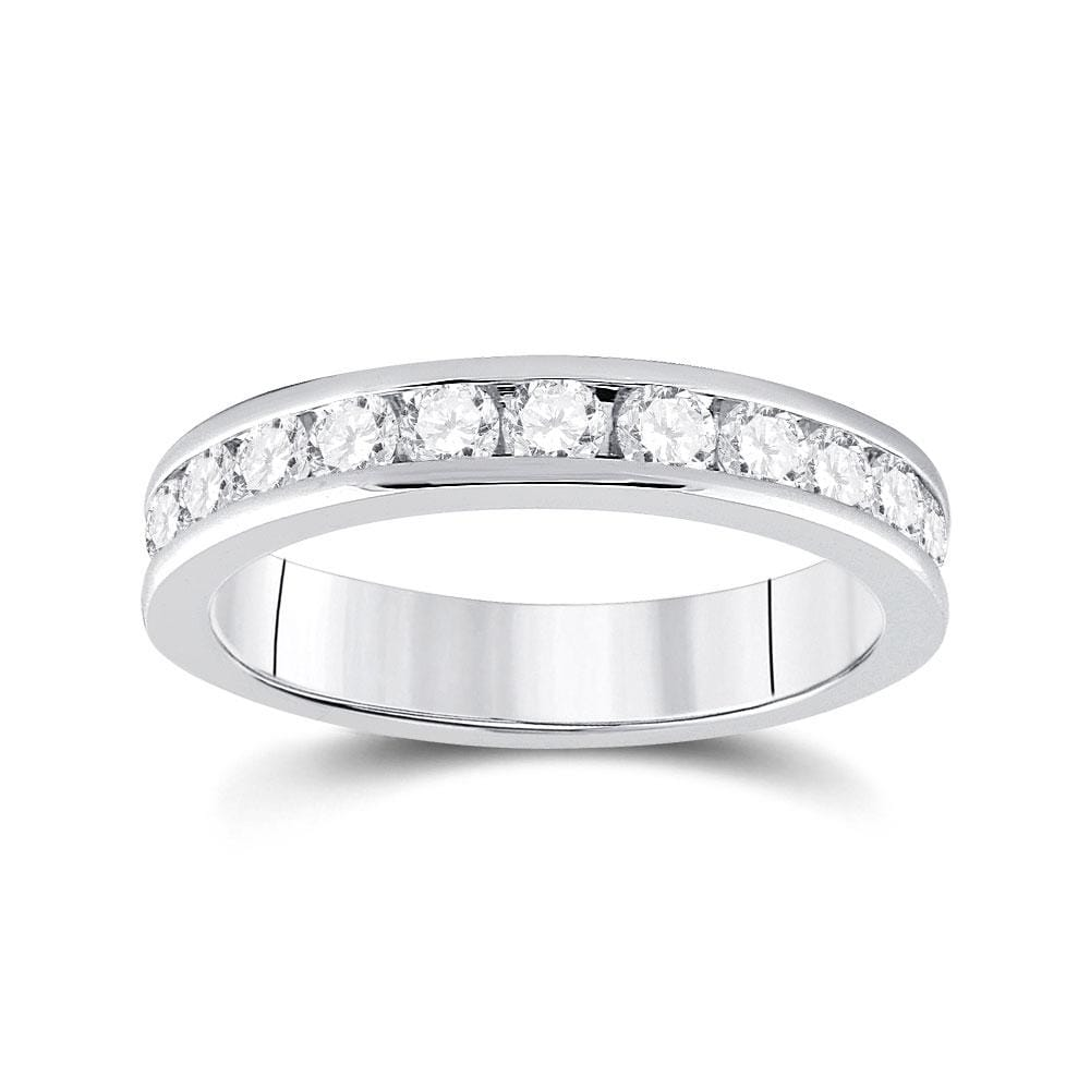 14kt White Gold Womens Round Diamond Wedding Band 3/4 Cttw