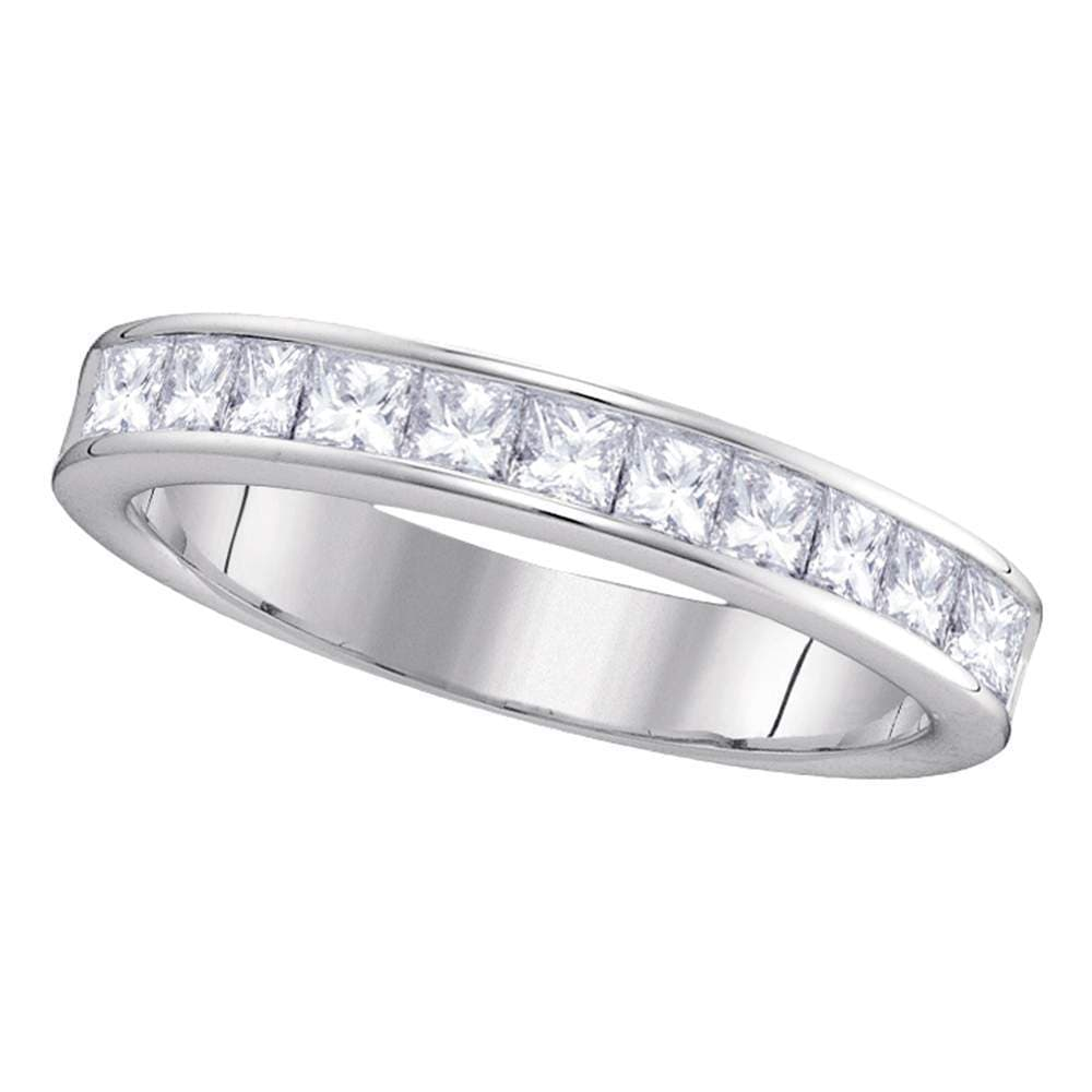 14kt White Gold Womens Princess Channel-set Diamond 4.5mm Wedding Band 1.00 Cttw