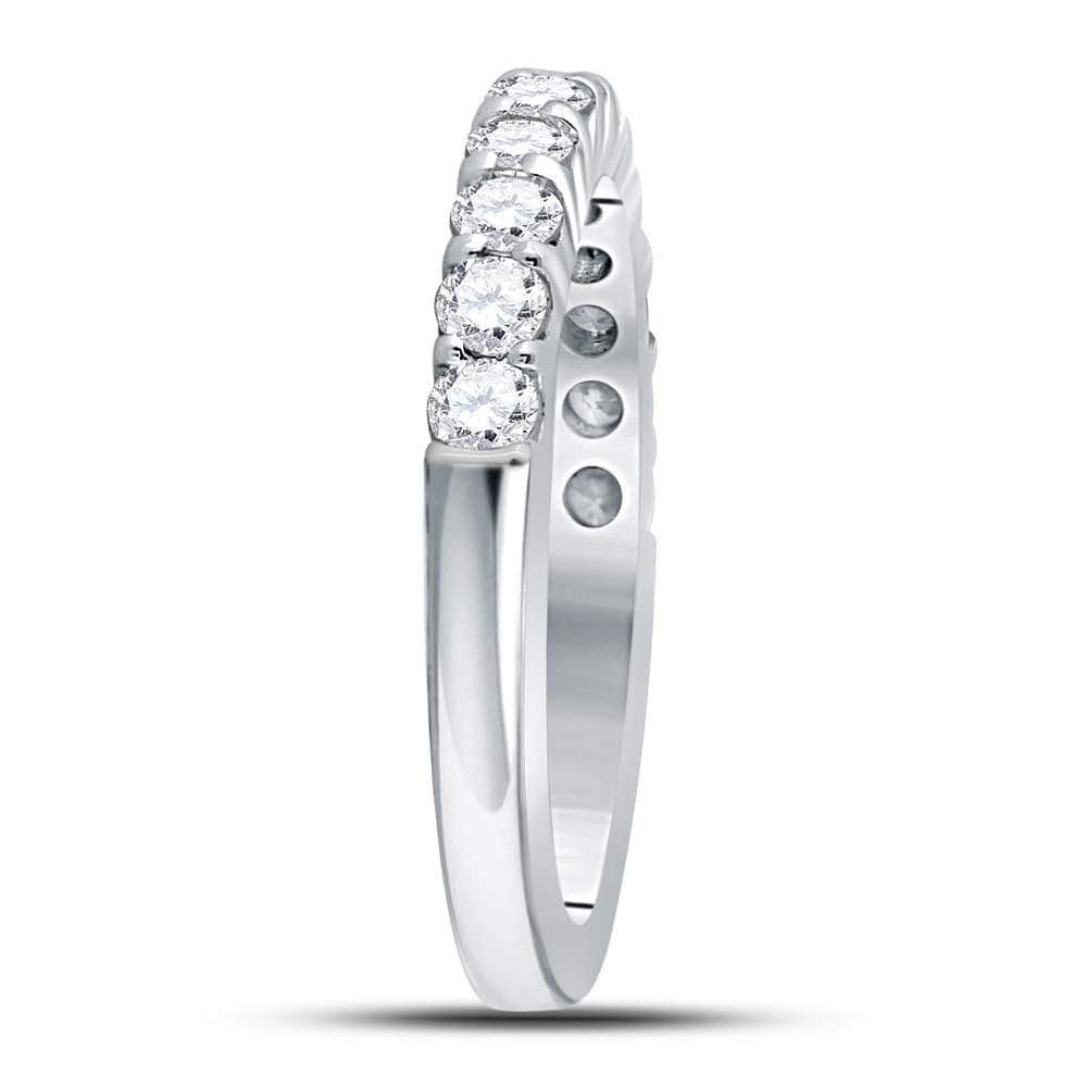 14kt White Gold Womens Machine Set Round Diamond Single Row Wedding Band 1/2 Cttw