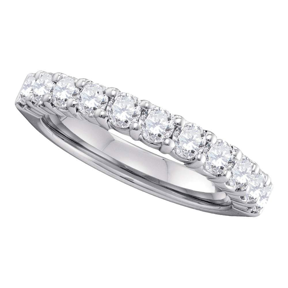 14kt White Gold Womens Round Pave-set Diamond Wedding Band 1 Cttw