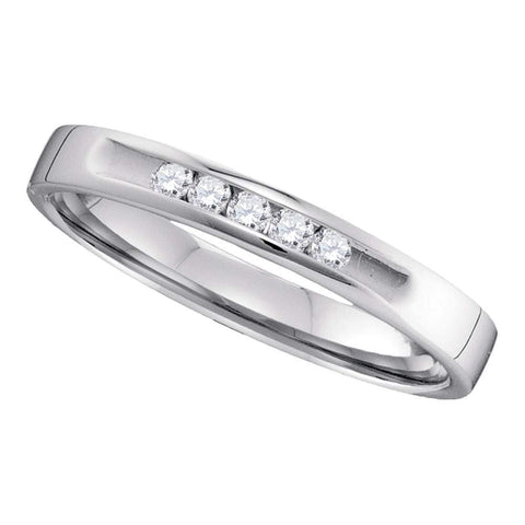 14kt White Gold Womens Round Diamond 2.5mm Wedding Band Ring 1/10 Cttw