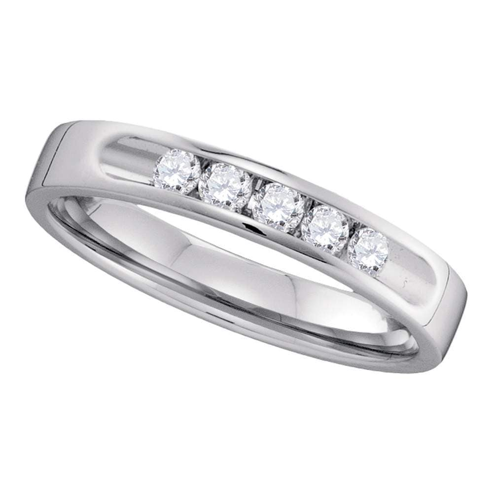 14kt White Gold Womens Round Channel-set Diamond 5-stone 3.5mm Wedding Band 1/4 Cttw
