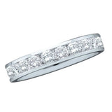 14kt White Gold Womens Round Channel-set Diamond Single Row Wedding Band 1 Cttw