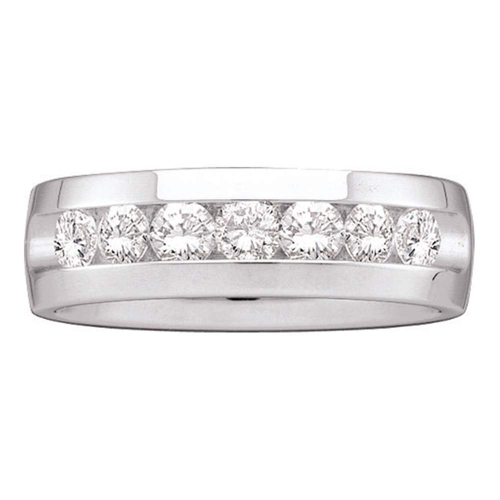 14kt White Gold Mens Round Channel-set Diamond Wedding Band Ring 1-1/2 Cttw