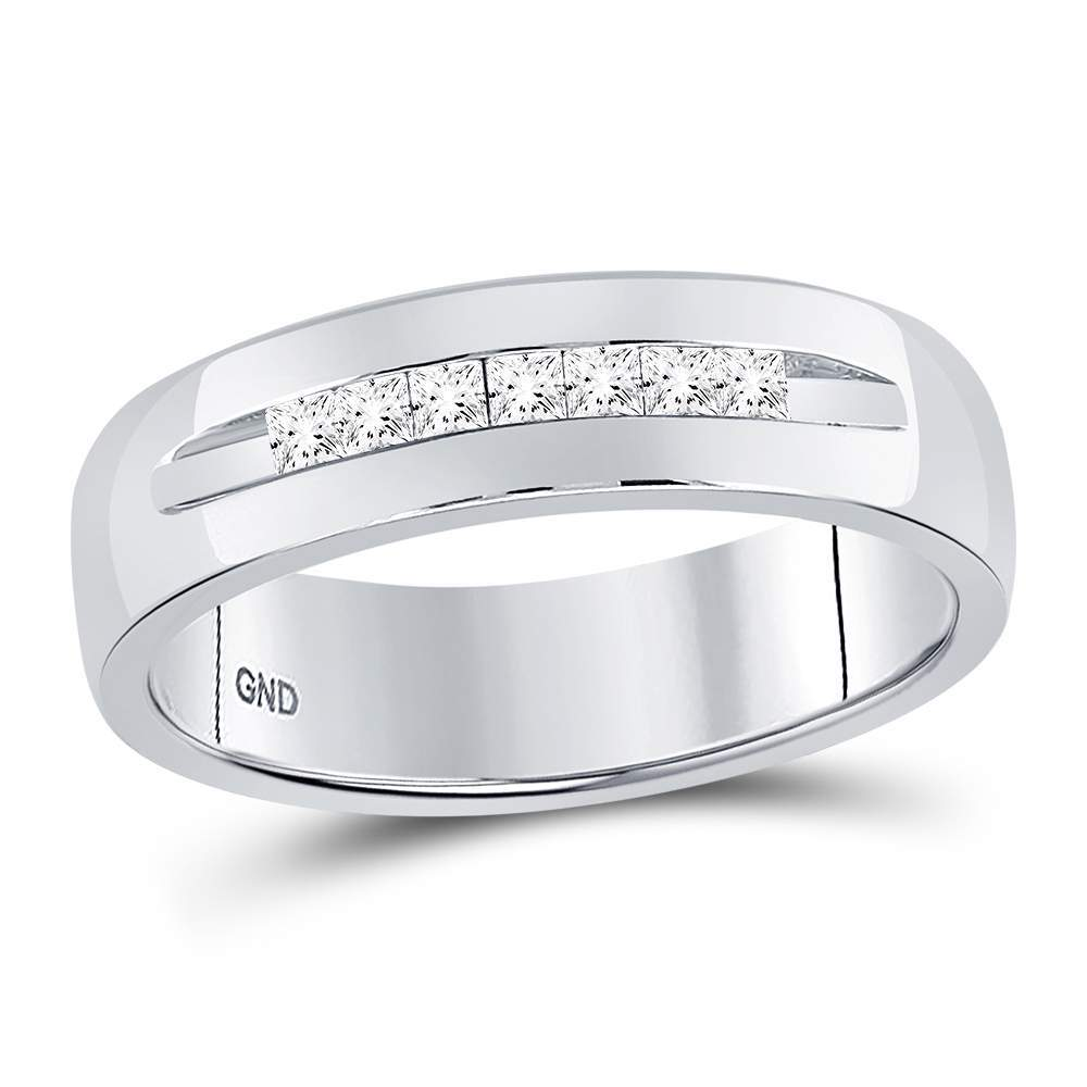 14kt White Gold Mens Princess Channel-set Diamond Wedding Band Ring 1/4 Cttw