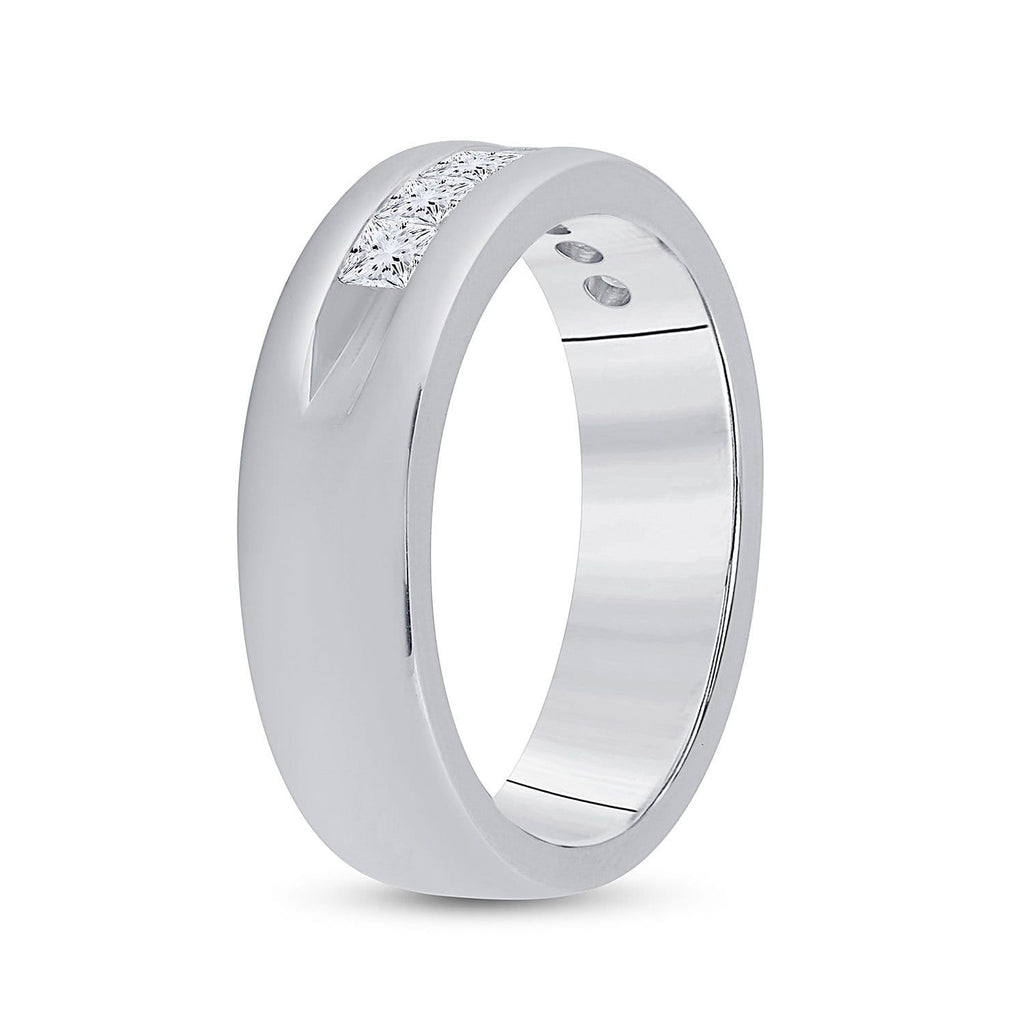 14kt White Gold Mens Machine Set Princess Diamond Wedding Channel Band Ring 1 Cttw