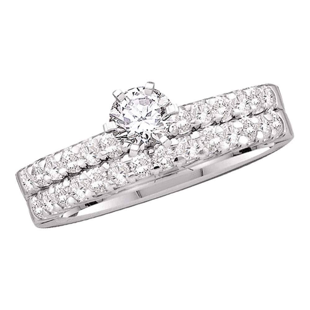 14kt White Gold Round Diamond Solitaire Bridal Wedding Ring Band Set /8 Cttw