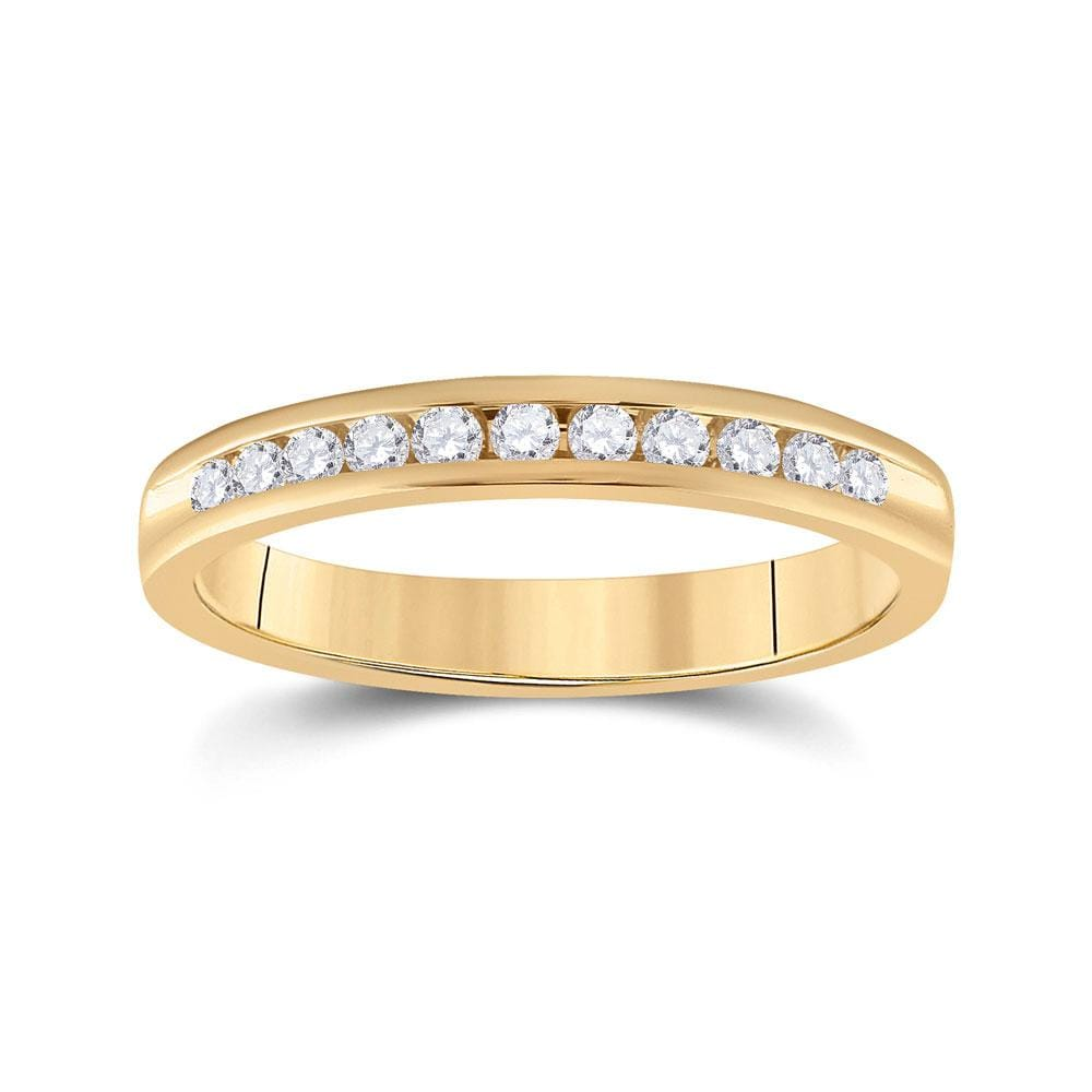 14kt Yellow Gold Womens Round Diamond Wedding Band 1/4 Cttw