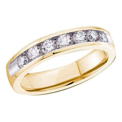 14kt Yellow Gold Womens Round Diamond Channel-set 4mm Wedding Band 3/4 Cttw