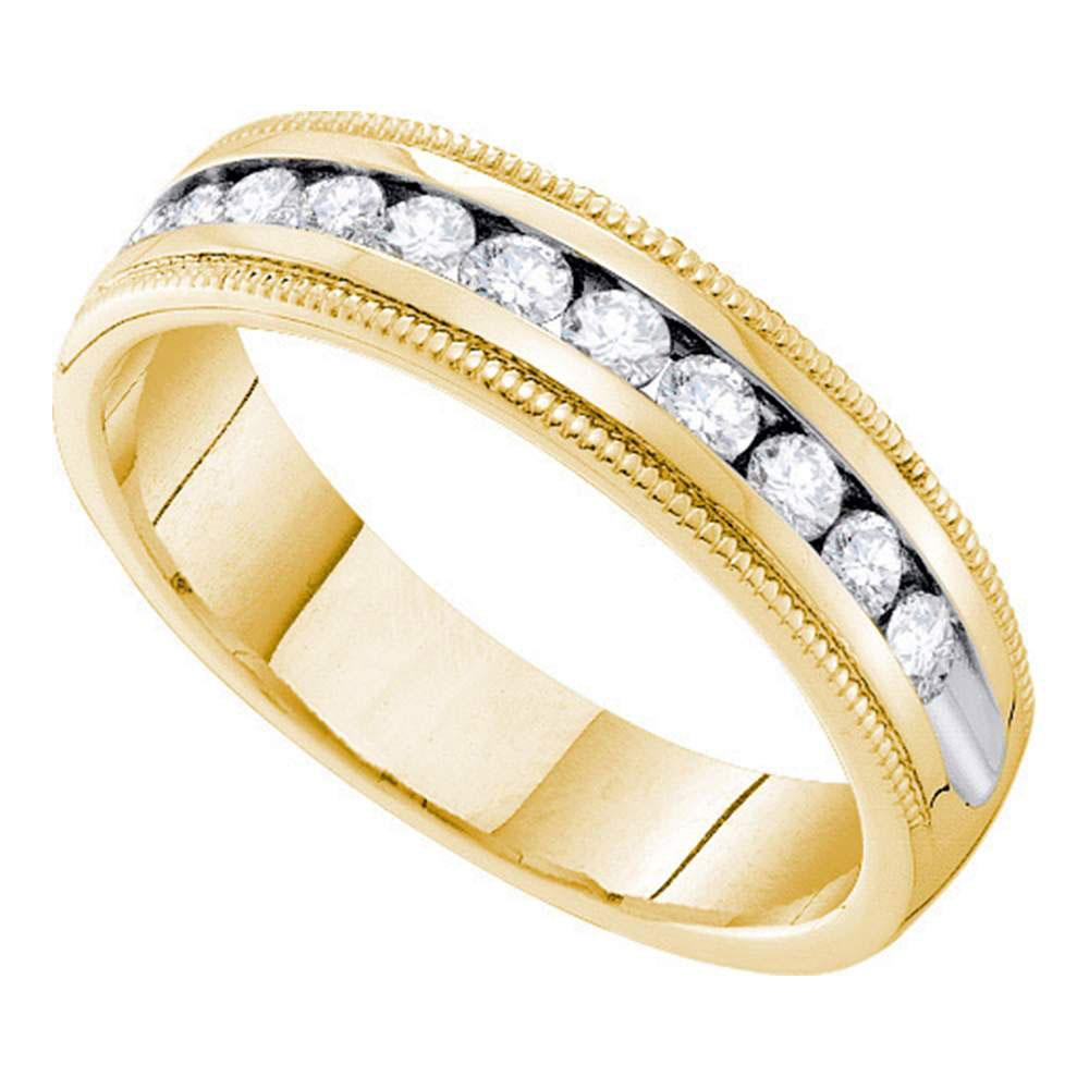 14kt Yellow Gold Womens Round Channel-set Diamond Milgrain Wedding Band 1/4 Cttw