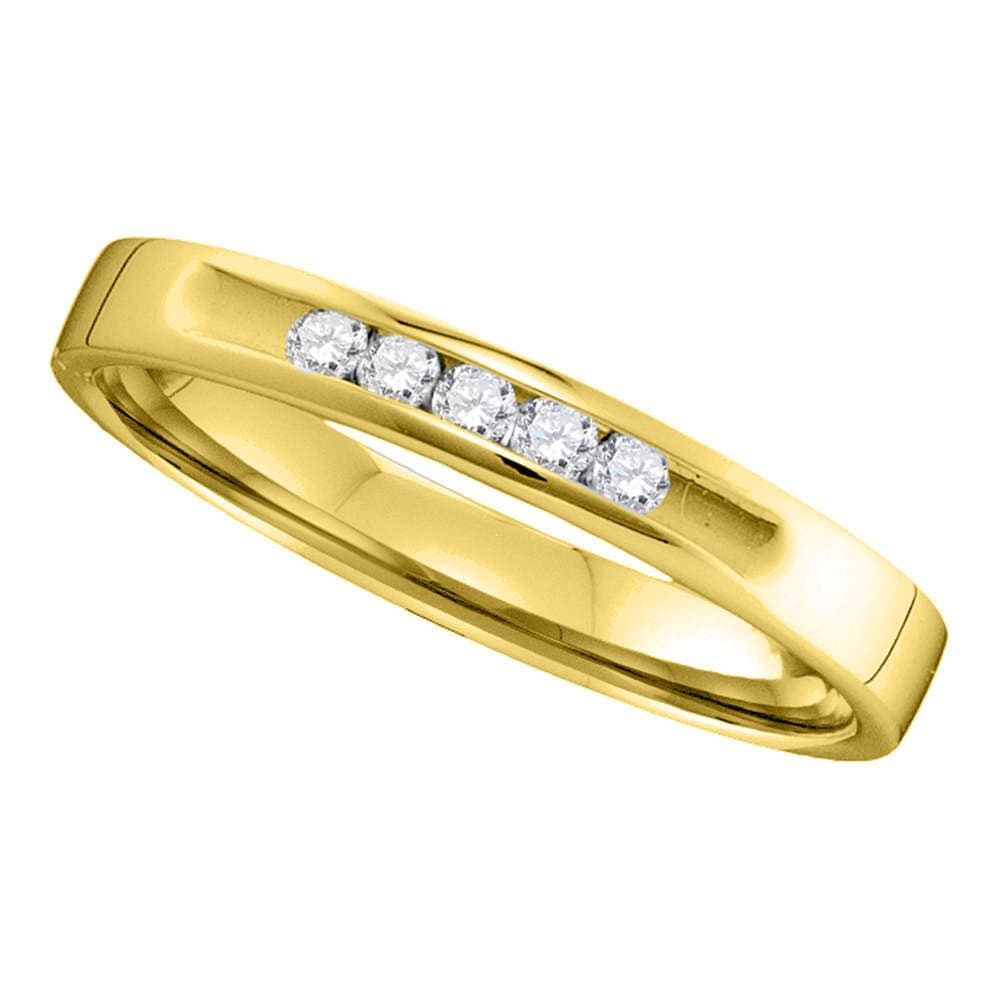 14kt Yellow Gold Womens Round Diamond Single Row Wedding Band 1/10 Cttw