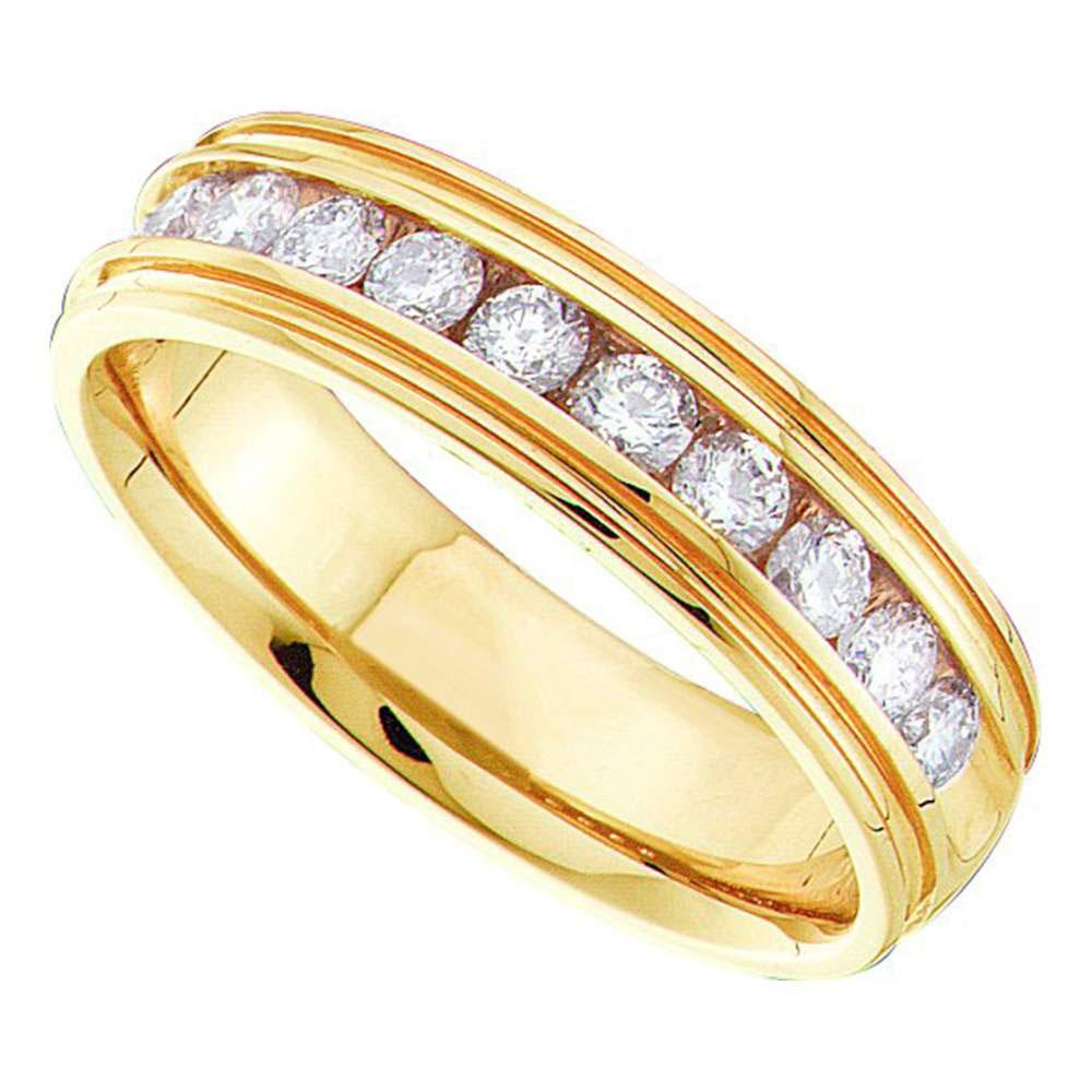 14kt Yellow Gold Mens Round Channel-set Diamond Ridged Edge Wedding Band 1/4 Cttw