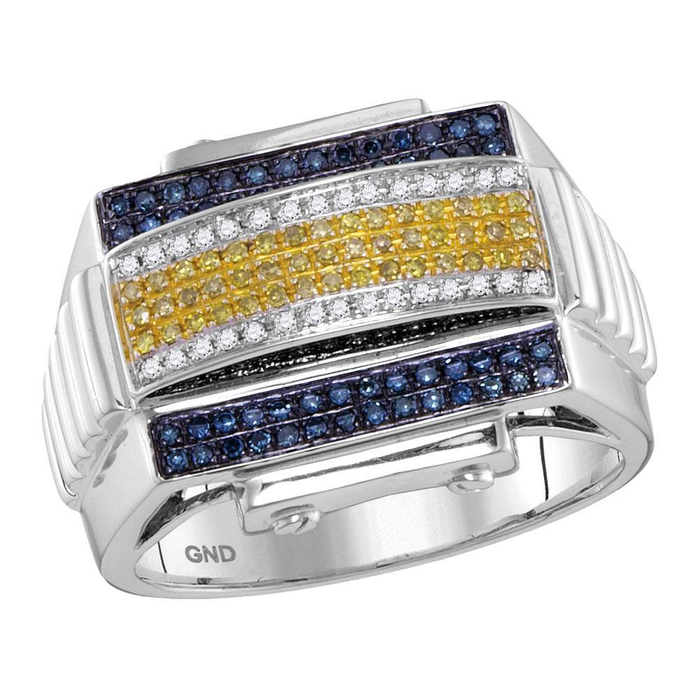 10kt White Gold Mens Round Yellow Color Enhanced Diamond Domed Cluster Ribbed Ring 1/2 Cttw