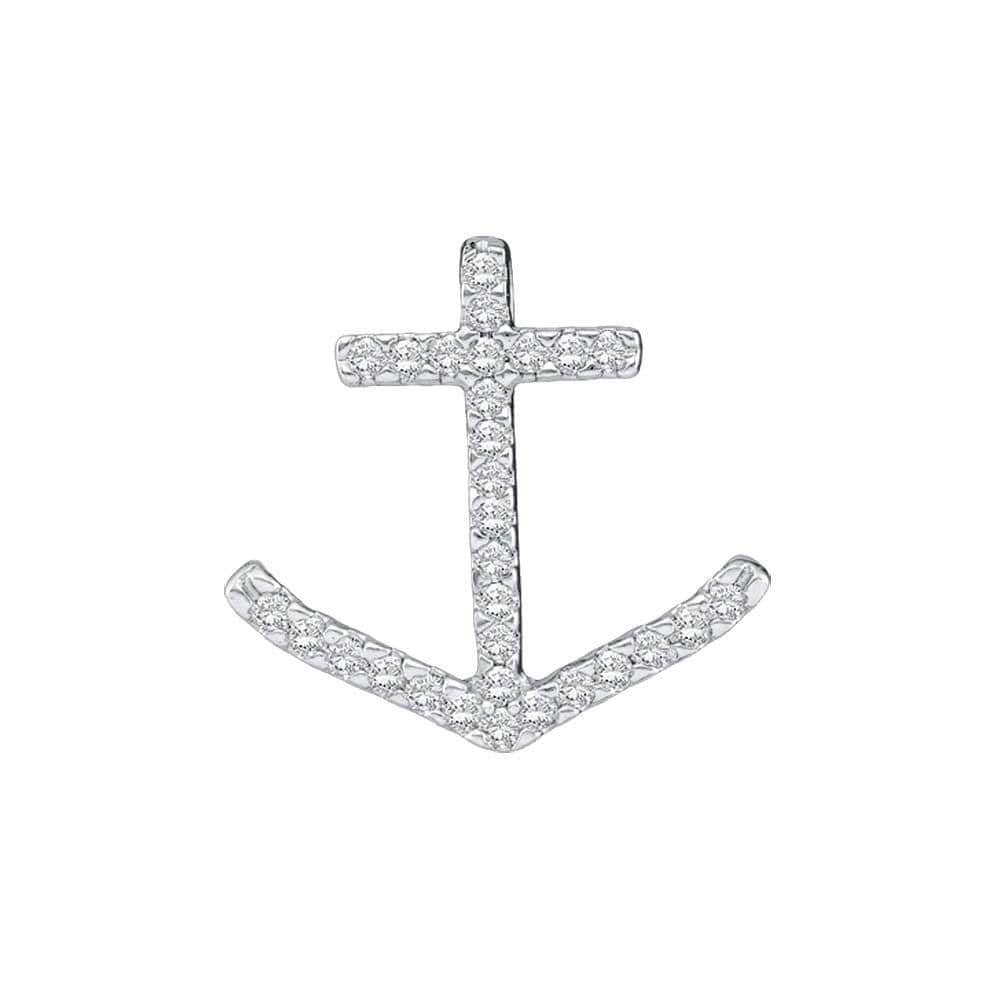 10kt White Gold Womens Round Diamond Anchor Nautical Pendant 1/4 Cttw