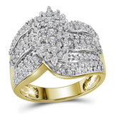10kt Yellow Gold Womens Round Prong-set Diamond Oval Cluster Ring 3/4 Cttw