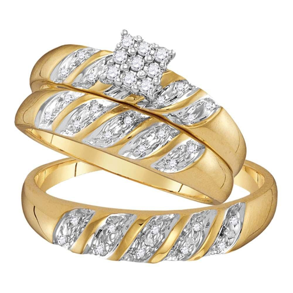 10kt Yellow Gold His Hers Round Diamond Cluster Matching Wedding Set 1/10 Cttw