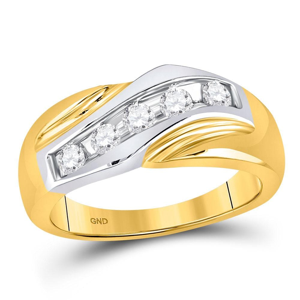 14kt Two-tone Gold Mens Round Diamond Wedding Band Ring 1/2 Cttw