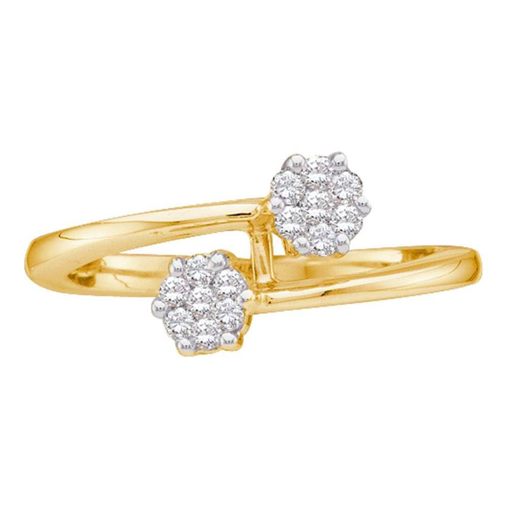 14kt Yellow Gold Womens Round Diamond Double Flower Cluster Ring 1/6 Cttw