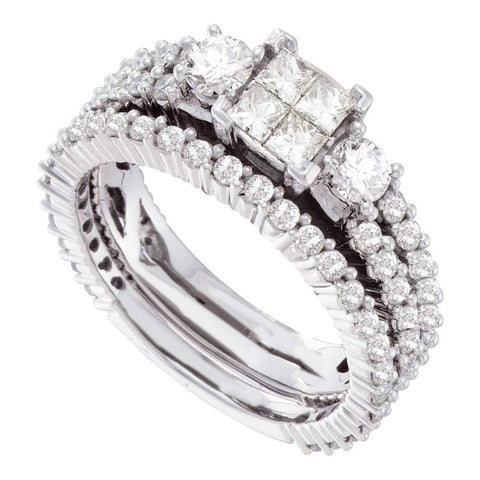 14kt White Gold Womens Princess Diamond Cluster Bridal Wedding Engagement Ring Band Set 2.00 Cttw