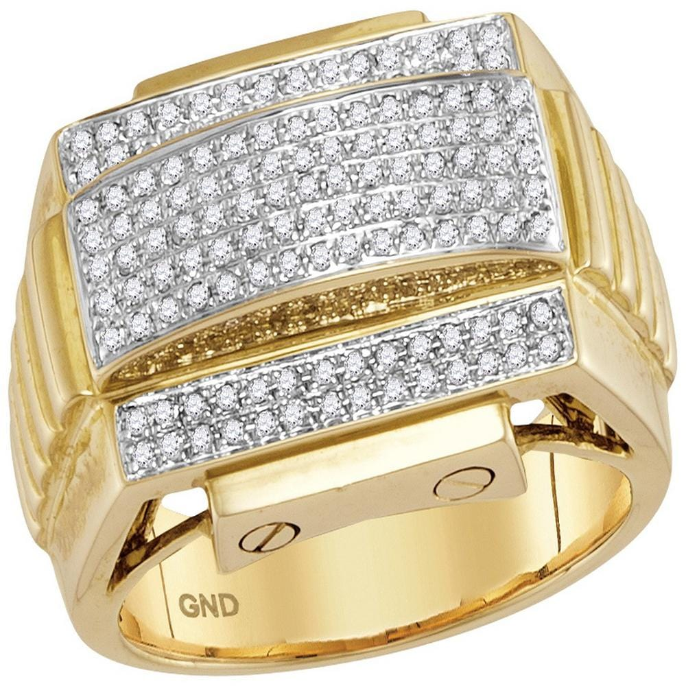 10kt Yellow Gold Mens Round Diamond Arched Ribbed Sides Cluster Ring 1/2 Cttw