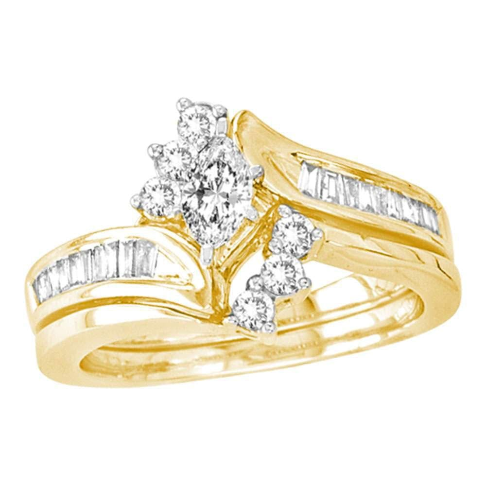 14kt Yellow Gold Marquise Diamond Bridal Wedding Ring Band Set 5/8 Cttw