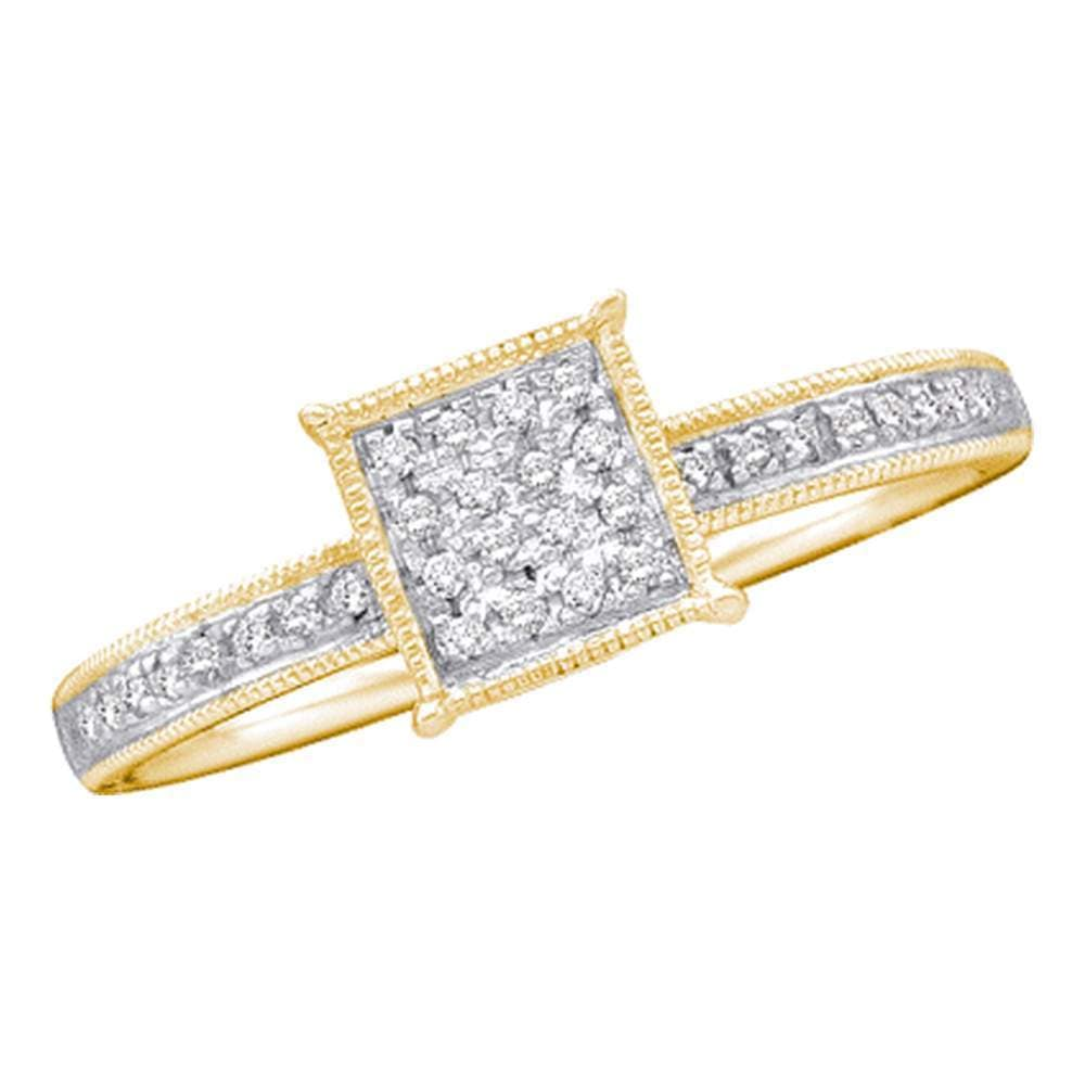 10kt Yellow Gold Womens Round Diamond Square Cluster Ring 1/10 Cttw