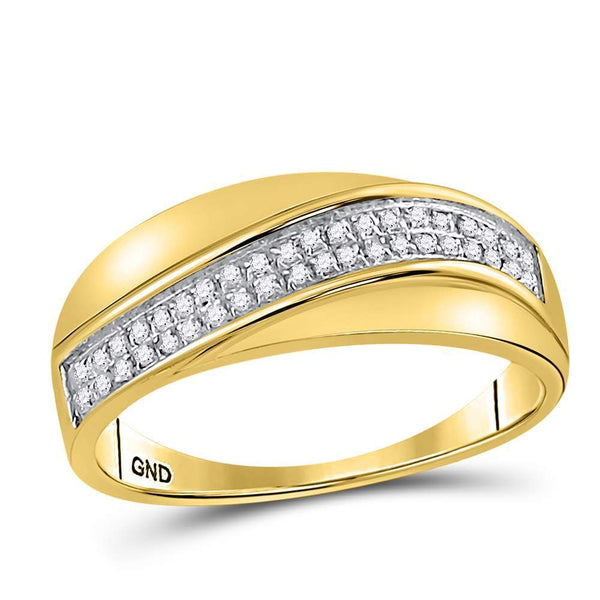 10kt Yellow Gold Womens Round Diamond Contour Row Band Ring 1/6 Cttw