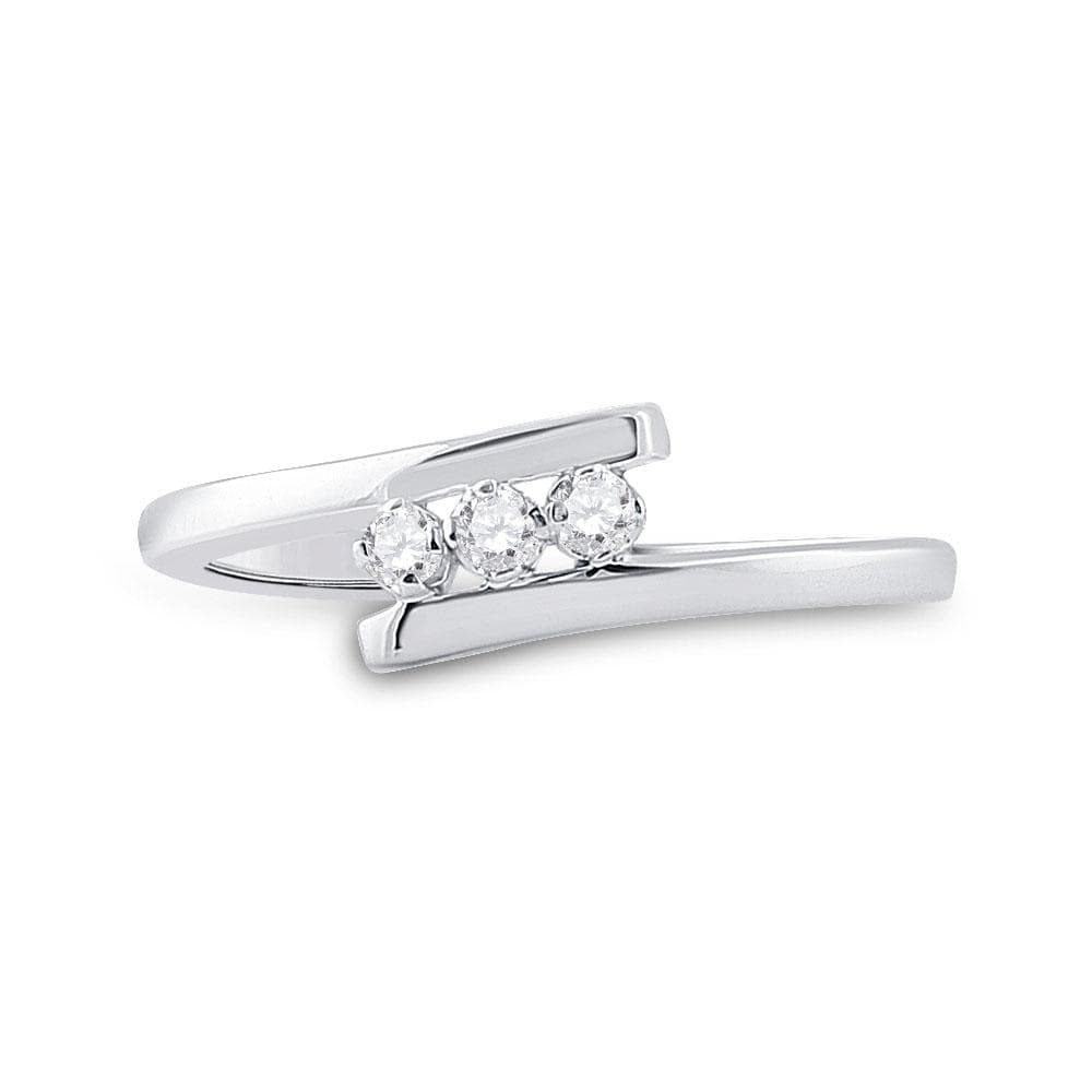 10kt White Gold Womens Round Diamond 3-stone Promise Ring 1/10 Cttw