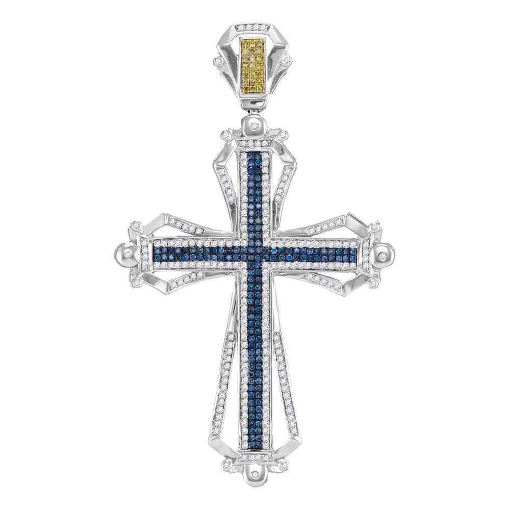 10kt White Gold Mens Round Blue & Yellow Color Enhanced Natural Diamond Cross Charm Pendant 1.50 Cttw