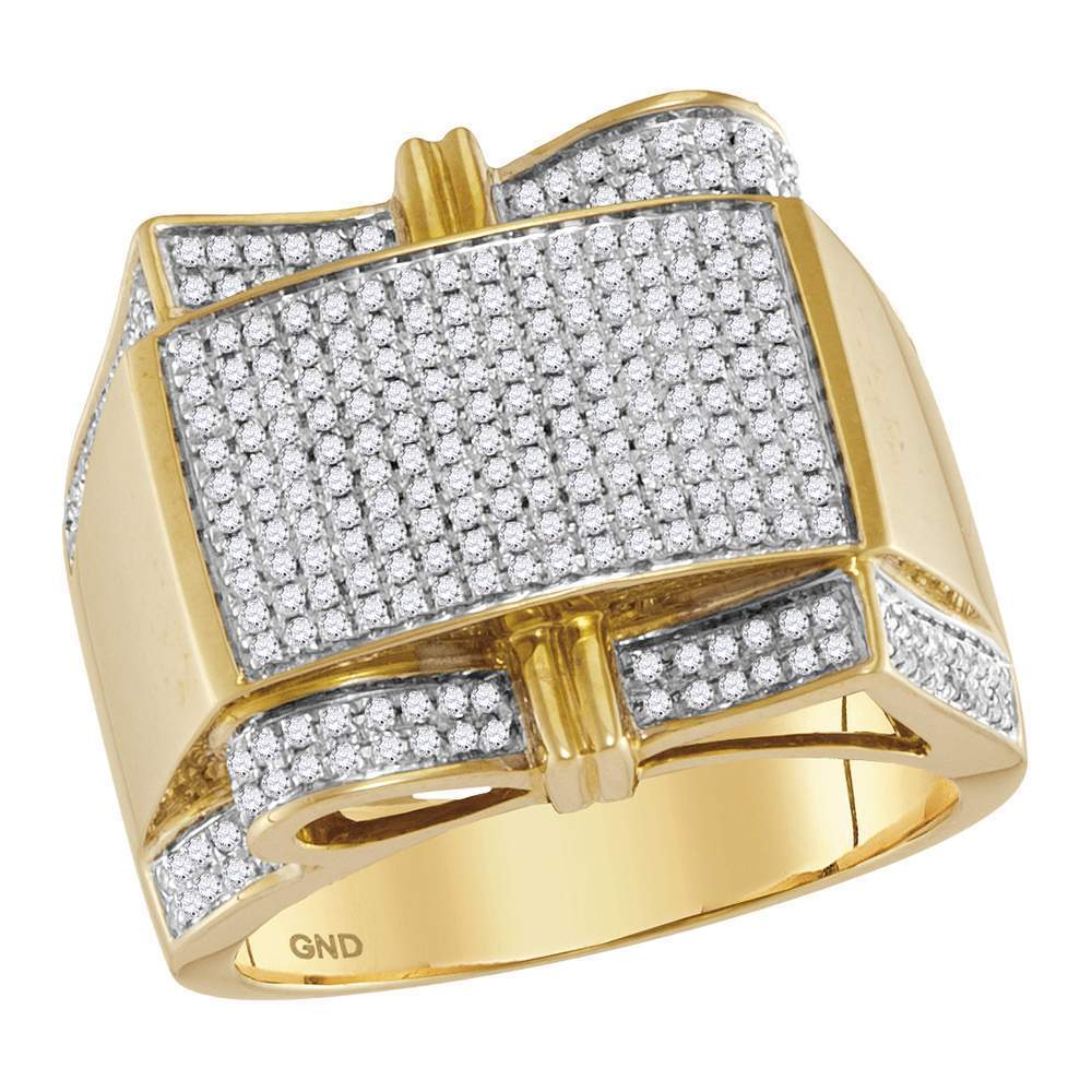 10kt Yellow Gold Mens Round Diamond Rectangle Cluster Ring 1.00 Cttw