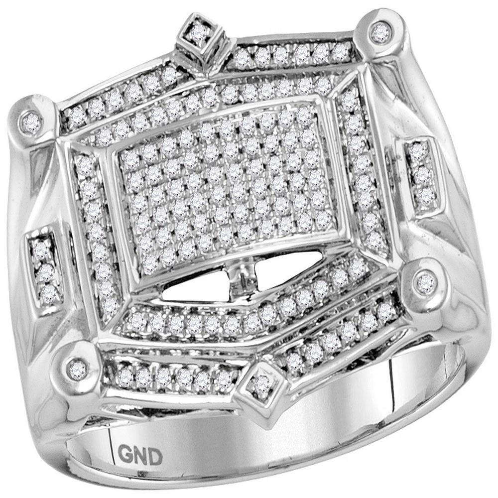 10kt White Gold Mens Round Diamond Rectangle Cluster Studded Ring 1/2 Cttw