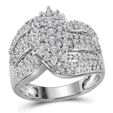10kt White Gold Womens Round Prong-set Diamond Oval Cluster Ring 3/4 Cttw