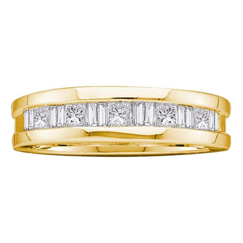 14kt Yellow Gold Mens Round Baguette Diamond Wedding Band Ring 1.00 Cttw