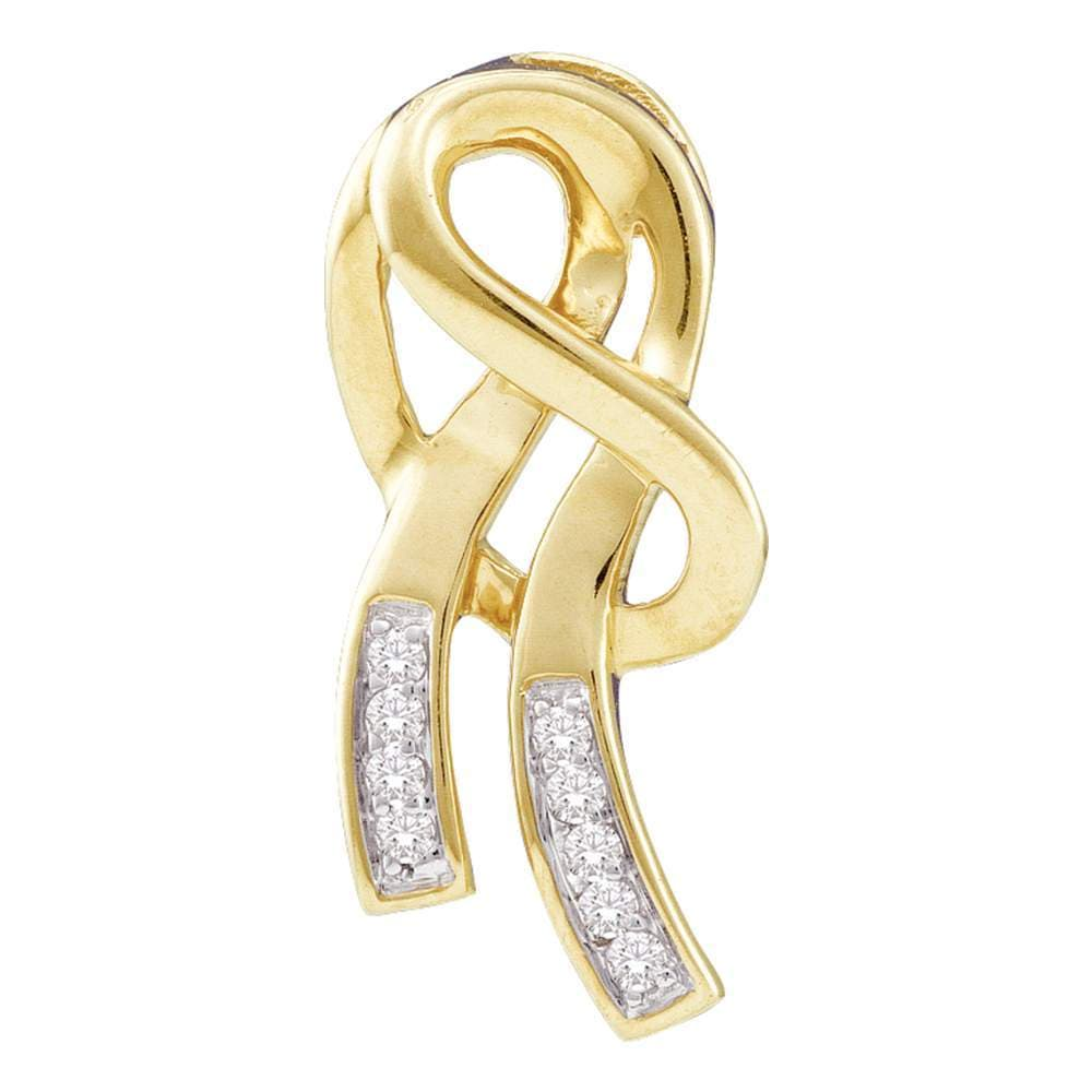 10kt Yellow Gold Womens Round Diamond Ribbon Fashion Pendant 1/12 Cttw