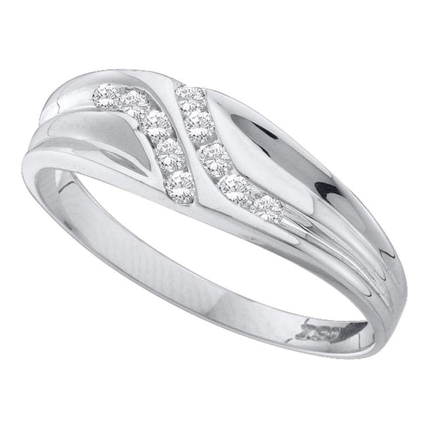 10kt White Gold Mens Round Diamond Double Row Slender Wedding Band 1/8 Cttw