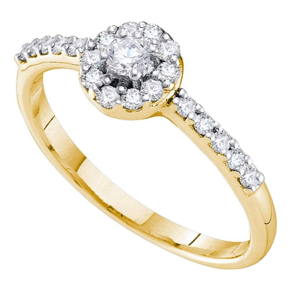 14kt Yellow Gold Round Diamond Solitaire Bridal Wedding Engagement Ring 1/3 Cttw
