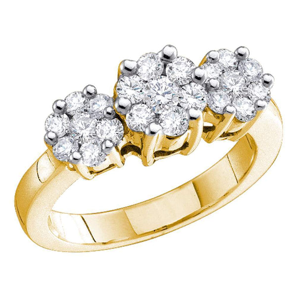 14kt Yellow Gold Womens Round Diamond Triple Flower Cluster Ring 1/3 Cttw