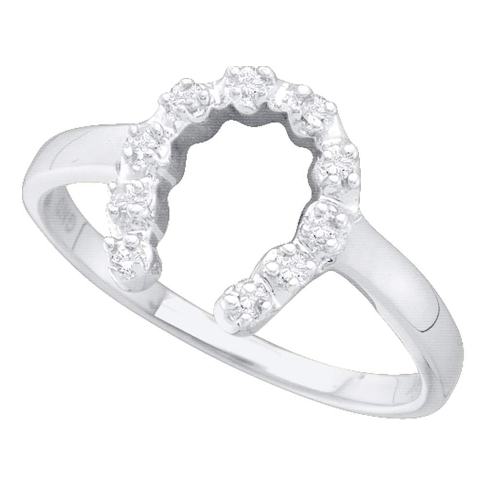 14kt White Gold Womens Round Diamond Simple Lucky Horseshoe Ring 1/20 Cttw
