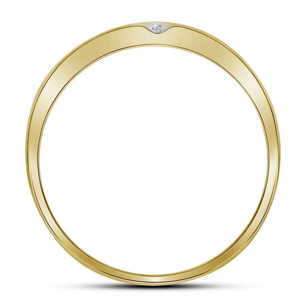 14kt Yellow Gold Mens Round Diamond Wedding Band Ring 1/ Cttw