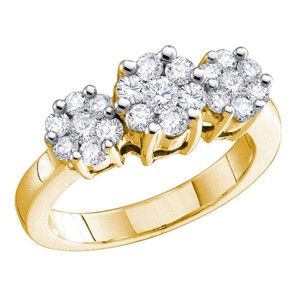 10kt Yellow Gold Womens Round Diamond Triple Flower Cluster Ring 1/4 Cttw