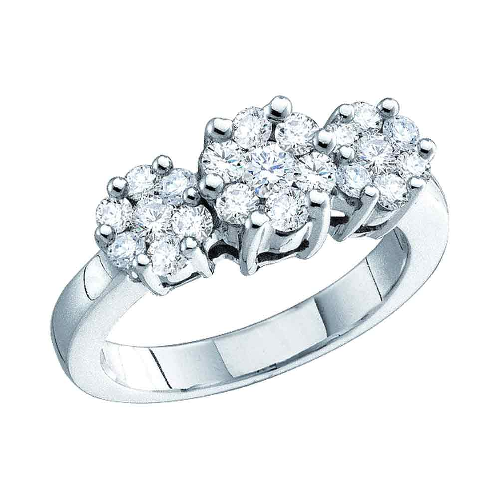 10kt White Gold Womens Round Diamond Triple Flower Cluster Ring 1/4 Cttw